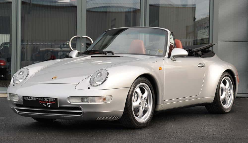 Front view of 1998 Porsche 993 Carrera 4 manual cabriolet for sale