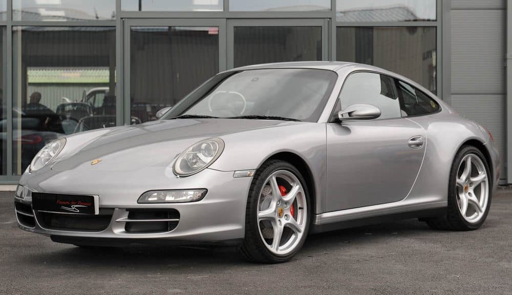 Front view of 2008 Porsche 997 Carrera 4 S Tiptronic S coupe in GT silver for sale