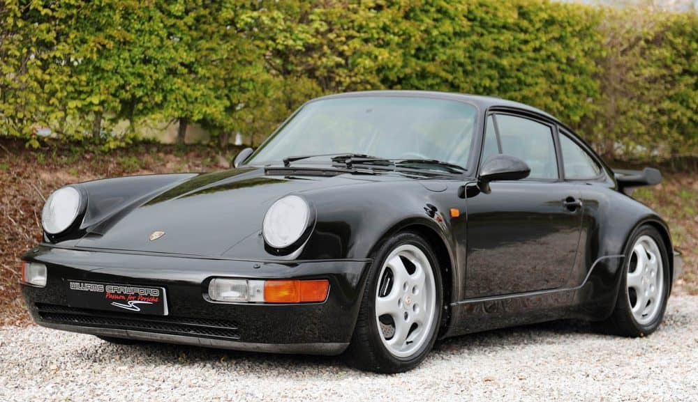 Front view of 1991 Porsche 964 Turbo coupe LHD in black pearl for sale
