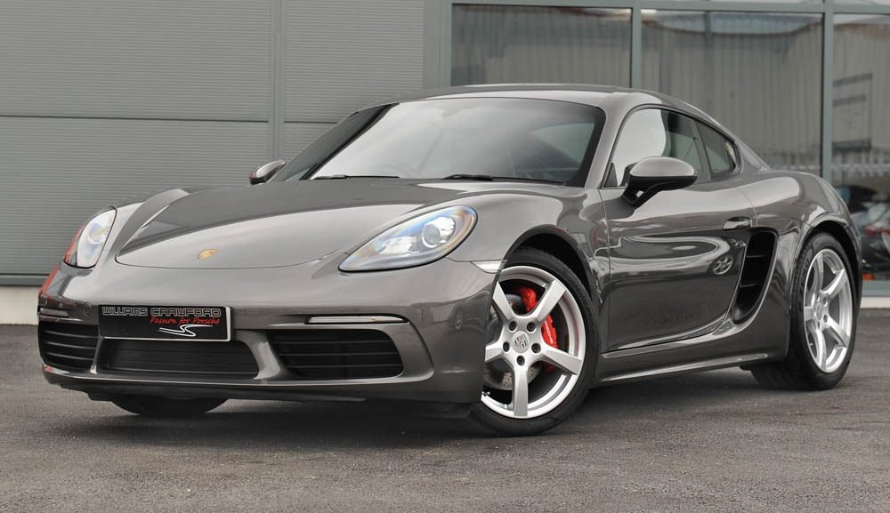 Front view of 2017 Porsche 718 Cayman S manual in Agate grey for sale