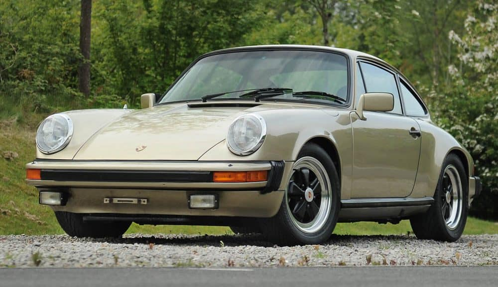Front view of 1982 Porsche 911 SC LHD coupe in platinum metallic (gold) for sale