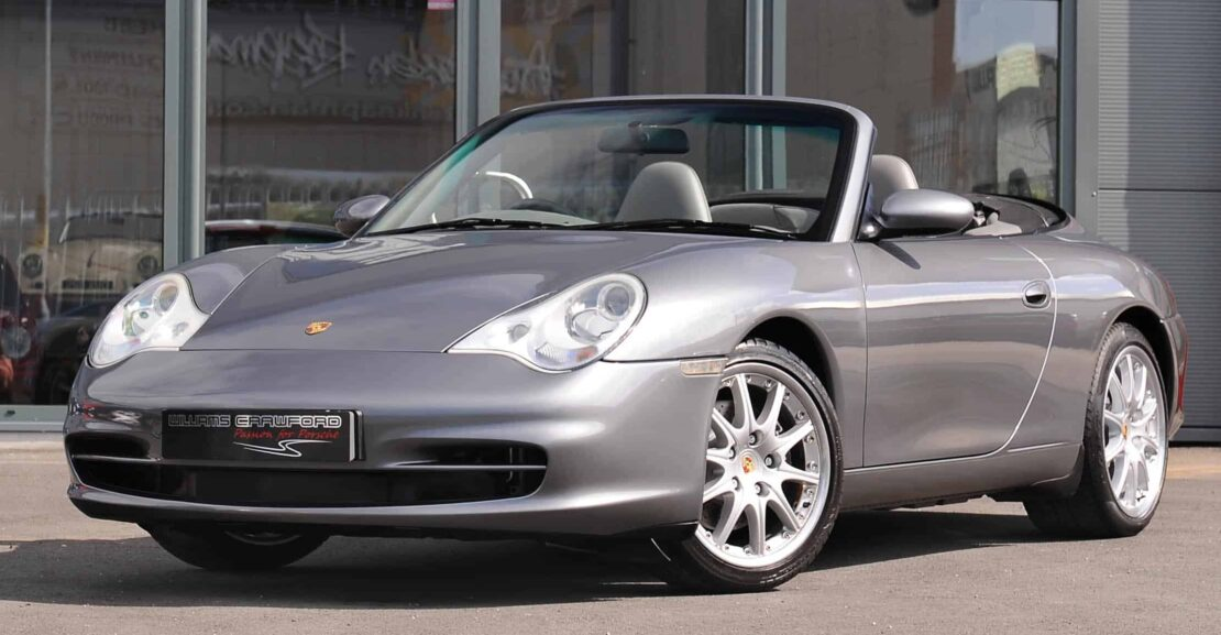 Front view of 2003 Porsche 996 Carrera 2 cabriolet in seal grey for sale