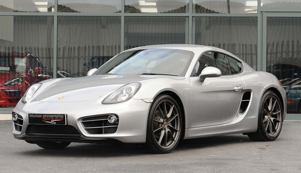 Front view of 2014 Porsche 981 Cayman PDK in GT silver for sale