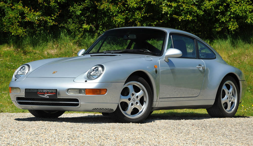 Front view of 1996 Porsche 993 (911) Carrera 2 Tiptronic S LHD coupe Polar silver for sale