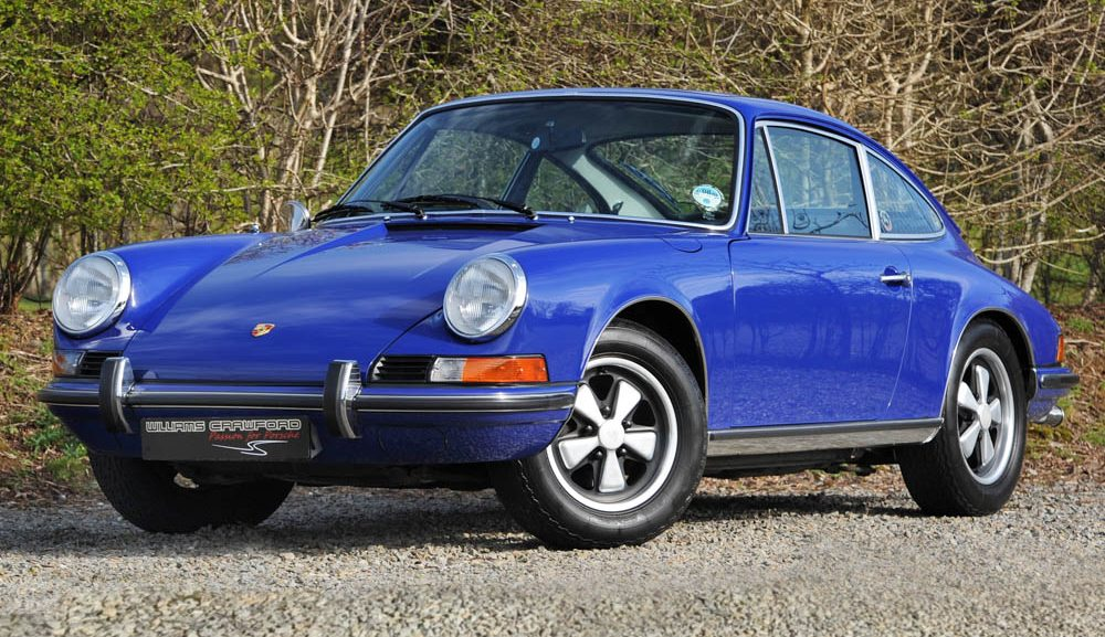 Front view of 1973 model year Porsche 911 T 2.4 Lux RHD for sale