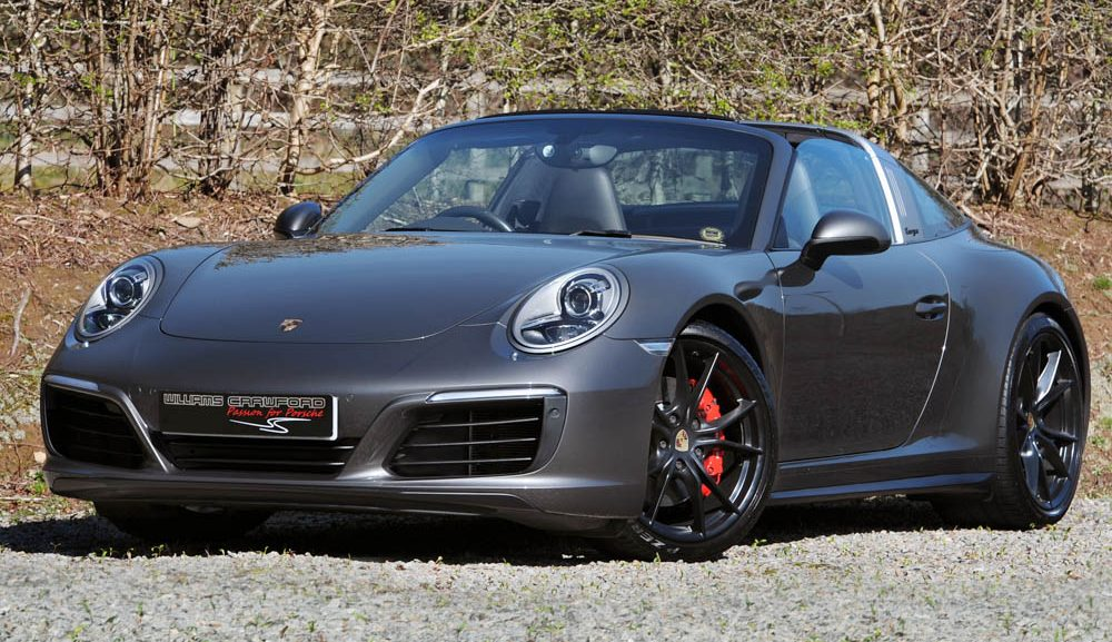 Front view of 2017 model year Porsche 991.2 Targa Carrera 4 S PDK for sale