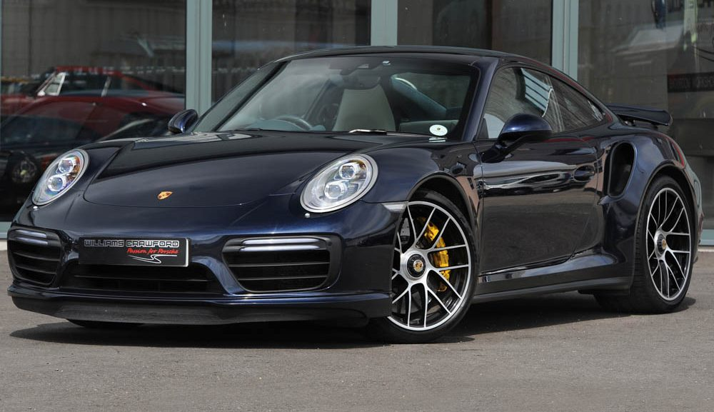 Front view of 2017 model year Porsche 991.2 Turbo S PDK coupe for sale