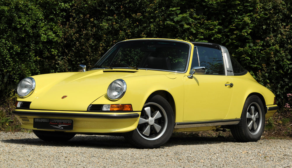 Front view of 1978/1972 Porsche 911 Backdate Targa yellow for sale