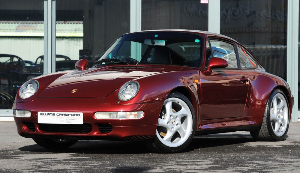 Front view of 1997 Porsche 993 Carrera 2 S manual coupe in Arena red for sale