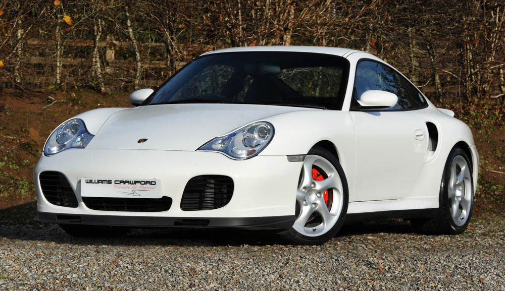 Front view of 2002 Porsche 996 Turbo Tiptronic S coupe Carrara white for sale
